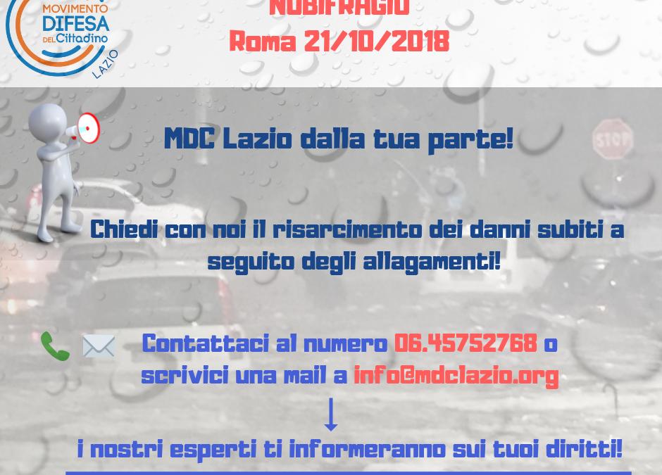 Roma, NUBIFRAGIO 21/10/2018. MDC Lazio dalla tua parte!