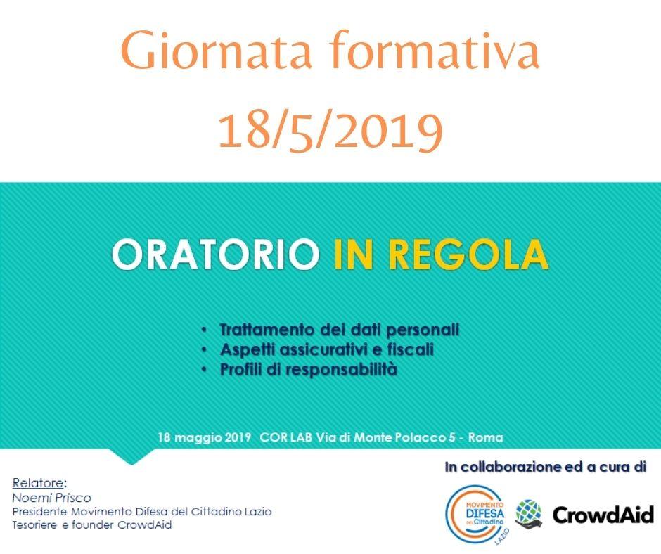 Giornata formativa – ORATORIO IN REGOLA presso CENTRO ORATORI ROMANI 18/5/2020